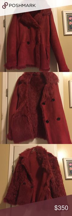 CHAIKEN shearling fur reversible peacoat size 8 Cute shearling fur jacket real sheepskin retailed $3000 in New York, I have never worn it it has sat in my closet for a while and I have matching stiletto boots size 8 if interested! It's a cute ensemble and the jacket is reversible with either the fur side or the leather side showing, the buttons are loose so they can pull through(not a defect!) and the pockets reverse when you switch sides all in all it's cute but I hardly ever wear red, ask…