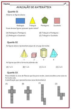 Avaliação de Matemática 4º ano | Sala de Aula – Profª Rérida Education, Math, School, Technical Drawing, Ely, Geometry, Facebook, Math Questions, Geometry Activities