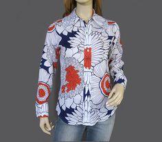 Vintage 70s Blouse Mod Red White Blue Pop Art Blouse $40.00   by vintagedaisydeb