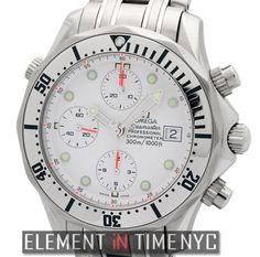 #Omega #Seamaster 300 M Chrono Diver Stainless Steel White Dial 2598.20.00