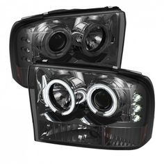 ( Spyder ) Ford Super Duty / Ford Excursion Projector Headlights - Version 2 - CCFL Halo - LED ( Replaceable LEDs ) - Smoke - High (Included) - Low (Included) These tail lig Ford Diesel, Diesel Trucks, Lifted Ford Trucks, Chevy Trucks, Big Trucks, Pickup Trucks, 2005 Ford Excursion, Projector Headlights, Led Projector