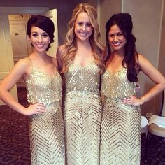 """White and Gold Wedding. Gold Bridesmaid Dress. Elegant and Glamorous. By Adrianna Papell - """"A glistening sequin-and-bead chevron pattern facets the flowing mesh of a cross-back blouson gown for a luminous finish."""" Fun gold bridesmaid dresses"""