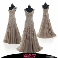 Amazon.com: Cocomelody A Line V Neck Long Beaded Evening Dress Bmmc0009: Clothing