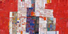 """Red and Blue, 2007, 30"""" x 60"""", cut paper on stretched linen"""