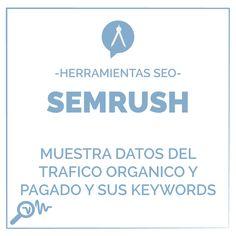 -Herramienta SEO  SEMRUSH Muestra datos del tráfico orgánico y pagado y sus Keywords.