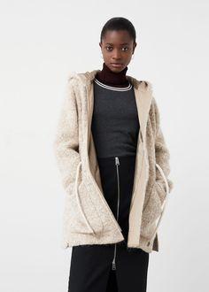 Hooded wool coat - Coats for Women | MANGO USA