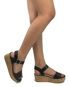 51243358d257ad City Classified Womens Buckle Ankle Strap Cork Platform Wedge Sandal  Platform Wedge Sandals
