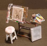 miniature artist's easel, paints and stool Miniature Rooms, Miniature Crafts, Miniature Furniture, Dollhouse Furniture, Diy Dollhouse, Dollhouse Miniatures, Dollhouse Accessories, Barbie Accessories, Doll House Crafts