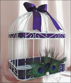 Wedding Card Box Bird Cage With Peacock Feathers Custom Ribbon Colors