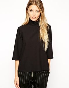 ASOS Top With Clean High Neck And 3/4 Length Sleeves
