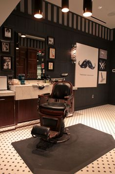 Perfection in The Art of Shaving. I love the mustache wall canvas - Location in Lincoln Square Chicago! Barber Shop Interior, Barber Shop Decor, Shop Interior Design, Old School Barber Shop, Barber Chair Vintage, Old School Style, Barbershop Design, Barbershop Ideas, The Art Of Shaving