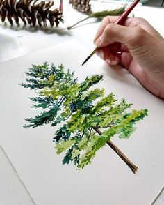 """""""Mi piace"""": mila, commenti: 31 – Illustrations Sharing Page ( - diy & craft Watercolor Trees, Watercolor Landscape, Watercolour Painting, Painting & Drawing, Landscape Paintings, Watercolors, Landscape Architecture Drawing, Watercolour Tutorials, Watercolor Techniques"""