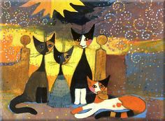 Rosina Wachtmeister: In front of her estate 40x50 Keilrahmen-Bild Katzen Cats in Möbel & Wohnen, Dekoration, Bilder & Drucke   eBay
