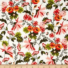 Riley Blake Apricot & Persimmon Apricot Main Cream from @fabricdotcom  Designed by Carina Gardner for Riley Blake, this cotton print is perfect for quilting, apparel and home decor accents. Colors include cream, shades of pink, peach, brown and shades of green.