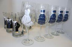 Bridal Party Wine Glasses and Groom / Groomsmen Beer Mugs - Great for Unique Personal Wedding Gifts