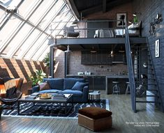 Indian Home Interior Loft Inspiration : Alex HemandezThe Definitive Source for Interior Designers.Indian Home Interior Loft Inspiration : Alex HemandezThe Definitive Source for Interior Designers Industrial Bedroom Design, Loft Interior Design, Loft Design, Home Room Design, Industrial House, Tiny House Design, Modern House Design, Design Case, Industrial Loft Apartment