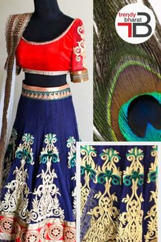 Be the charming beauty of any occassion wearing  this blue and red coloured lehenga choli set #lehengacholi #bluelehenga #embroideredlehenga #womensfashion Shop now- https://goo.gl/SjItMW