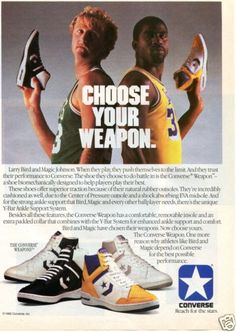 1986 Converse Weapons Basketball Shoe Magazine Ad w Larry Bird Magic Johnson | eBay