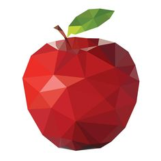 Polygonal apple vector art - Free vector image in AI and EPS format. Geometric Drawing, Geometric Shapes, Apple Vector, Apple Art, Red Apple, Polygon Art, Fractal, Art Plastique, Low Poly