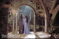Arwen and Elrond at Rivendell. #LordoftheRings (Liv Tyler, Hugo Weaving)