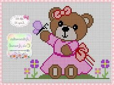 Cross Stitching, Cross Stitch Embroidery, Cross Stitch Patterns, Cross Stitch Baby, Cross Stitch Animals, Baby Teddy Bear, Christmas Cross, Plastic Canvas, Diy And Crafts