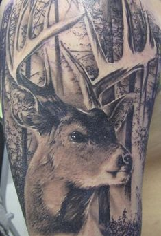 What does deer tattoo mean? We have deer tattoo ideas, designs, symbolism and we explain the meaning behind the tattoo. Diy Tattoo, Stag Tattoo, Tattoo Henna, Camo Tattoo, Tattoo Thigh, Custom Tattoo, Tattoos Arm Mann, Wolf Tattoos, Animal Tattoos