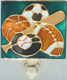 stained glass night light with sports theme - football, baseball and baseball bat, soccer, basketball