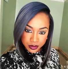 This dark gray Bob with dark blue streaks.....we  this look.....xoxo