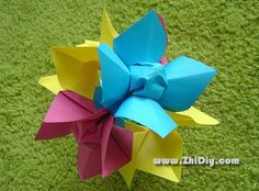 折纸茉莉花 纸艺花教程 jazmin origami