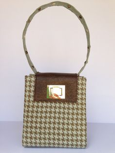 Mechelle Shoulder Bag in Teal Houndstooth by TinaFrantzDesigns on Etsy