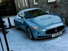 Maserati GranTurismo. What a beautiful color with the backdrop of white snow.