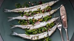 Three ways with whole fish - including these pan-fried garfish with red onion, parsley and lemon salsa