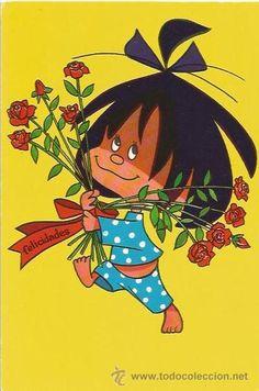 POSTAL DE LA FAMILIA TELERIN -   Querían acostarnos a las 8 de la tarde, ya ves... Decoupage, Baby Cartoon, Betty Boop, Retro, Country Life, Cute Art, Cute Kids, Childhood Memories, Birthday Cards