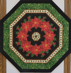 Quilted Holiday Hexagon Table Centerpiece topper poinsettias