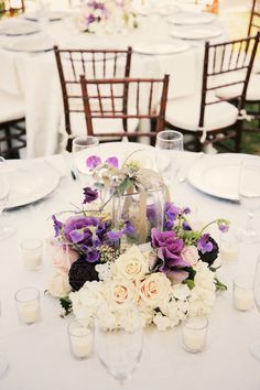 décoration mariage, wedding, centerpiece, centre de table, violet purple