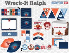 Wreck It Ralph Birthday Party Kit // DIY Printable by schavez, $15.00