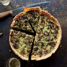 This delicious quiche features roasted brussels sprouts and Gruyère in a silky custard.
