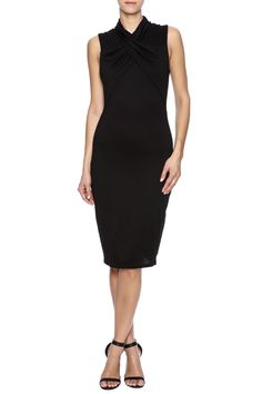 """From the boardroom to cocktails. This lined viscose jersey can be styled at or above the knee. Shapely, figure-skimming sheath with crisscross-front detail and mock neck.    Approx. Measures: 43"""" long from shoulder to hem.   Mock Neck Dress by Lisa & Lucy. Clothing - Dresses - Knee North Carolina"""