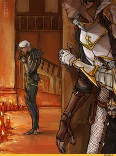 Fenris and Sebastian. This illustration is very cute but little confusin. I dont know if Fenris belive in Andraste or in the Chantry. And also this image cant be in Inquisition because the Kirkwall's chantry still alive