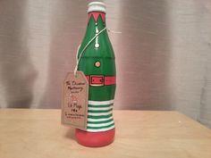 Hand painted bottle Christmas Little bottle by ShePaintsSeaStones