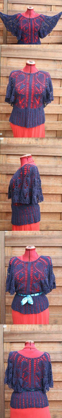 Crochet top,blue wide sleeved bamboo yarn, handmade size M / L : Blue lagoon. Crochet Cape, Crochet Shirt, Crochet Sweaters, Crochet Jacket, Crochet Cardigan, Knit Or Crochet, Easy Crochet, Crochet Clothes, Crochet Woman