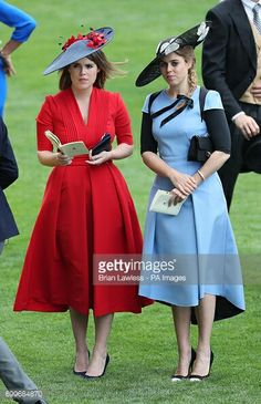 Princess Eugenie of York (left) and Princess Beatrice of York during day three of Royal Ascot at Ascot Racecourse. (Photo by Brian Lawless/PA Images via Getty Images) Princess Eugenie And Beatrice, Royal Princess, Prince And Princess, Royal Ascot Ladies Day, Prince Andrew, Eugenie Of York, Style Royal, Elisabeth Ii, Duchess Of York