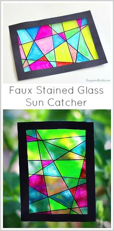 Faux Stained Glass Art Project for Kids- a fun and easy drawing and coloring activity for children of all ages. glass crafts for kids Faux Stained Glass Suncatcher Craft for Kids Stained Glass Crafts, Faux Stained Glass, Contact Paper Stained Glass Craft, Clear Contact Paper Crafts, Summer Crafts, Fun Crafts, Cool Crafts For Kids, Simple Crafts, Decor Crafts