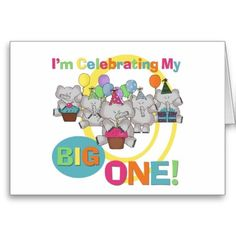 Elephant 1st Birthday T shirts and Gifts Card