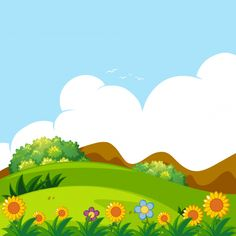 Background scene with green lawn Free Vector