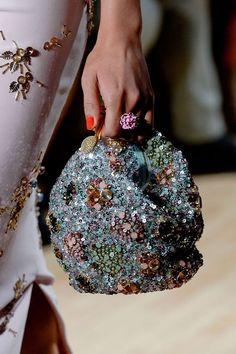 So Fancy // Jenny Packham Spring 2015 Beaded Purses, Beaded Bags, Summer Handbags, Purses And Handbags, Studded Handbags, Fashion Bags, Fashion Accessories, Fashion Week, Fashion Fashion