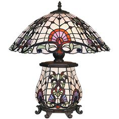 3 Lights Tiffany Style Table Lamp (1,315 SAR) ❤ liked on Polyvore featuring home, lighting, table lamps, multi colored lamps, colorful lamps, multi color lamp, colorful table lamps and tiffany style lighting