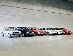 VW GOLF GENERATIONS. Awww, there's my little old MK4 in the line up. I miss her.