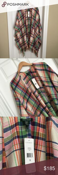 Lauren Ralph Lauren Wool Plaid & Check Poncho Beautiful oversized wool plaid and checks poncho by Ralph Lauren. One Size. New with tags on. Retail price $408 Lauren Ralph Lauren Sweaters Shrugs & Ponchos