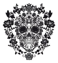 floral skull by jon may